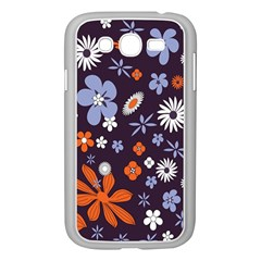 Bright Colorful Busy Large Retro Floral Flowers Pattern Wallpaper Background Samsung Galaxy Grand Duos I9082 Case (white)