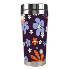 Bright Colorful Busy Large Retro Floral Flowers Pattern Wallpaper Background Stainless Steel Travel Tumblers