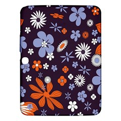 Bright Colorful Busy Large Retro Floral Flowers Pattern Wallpaper Background Samsung Galaxy Tab 3 (10.1 ) P5200 Hardshell Case