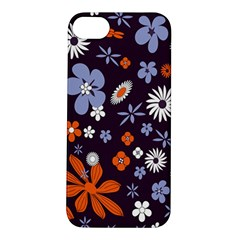 Bright Colorful Busy Large Retro Floral Flowers Pattern Wallpaper Background Apple Iphone 5s/ Se Hardshell Case