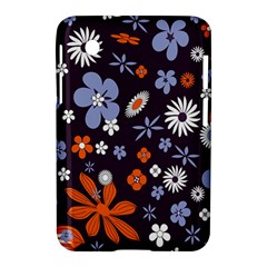 Bright Colorful Busy Large Retro Floral Flowers Pattern Wallpaper Background Samsung Galaxy Tab 2 (7 ) P3100 Hardshell Case