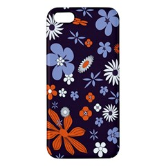 Bright Colorful Busy Large Retro Floral Flowers Pattern Wallpaper Background Iphone 5s/ Se Premium Hardshell Case