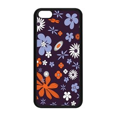 Bright Colorful Busy Large Retro Floral Flowers Pattern Wallpaper Background Apple Iphone 5c Seamless Case (black)