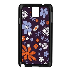 Bright Colorful Busy Large Retro Floral Flowers Pattern Wallpaper Background Samsung Galaxy Note 3 N9005 Case (black)