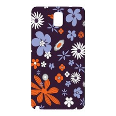 Bright Colorful Busy Large Retro Floral Flowers Pattern Wallpaper Background Samsung Galaxy Note 3 N9005 Hardshell Back Case