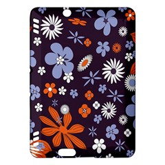 Bright Colorful Busy Large Retro Floral Flowers Pattern Wallpaper Background Kindle Fire Hdx Hardshell Case