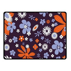 Bright Colorful Busy Large Retro Floral Flowers Pattern Wallpaper Background Double Sided Fleece Blanket (small)