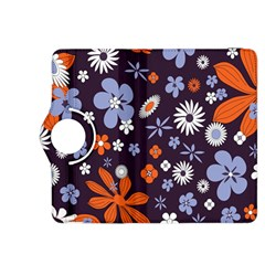 Bright Colorful Busy Large Retro Floral Flowers Pattern Wallpaper Background Kindle Fire Hdx 8 9  Flip 360 Case