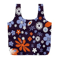 Bright Colorful Busy Large Retro Floral Flowers Pattern Wallpaper Background Full Print Recycle Bags (L)