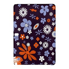 Bright Colorful Busy Large Retro Floral Flowers Pattern Wallpaper Background Samsung Galaxy Tab Pro 10.1 Hardshell Case
