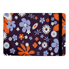 Bright Colorful Busy Large Retro Floral Flowers Pattern Wallpaper Background Samsung Galaxy Tab Pro 10 1  Flip Case