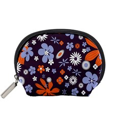 Bright Colorful Busy Large Retro Floral Flowers Pattern Wallpaper Background Accessory Pouches (small)