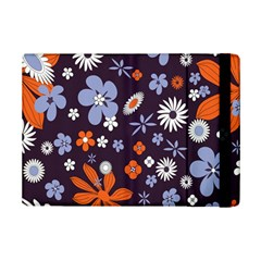 Bright Colorful Busy Large Retro Floral Flowers Pattern Wallpaper Background iPad Mini 2 Flip Cases