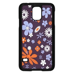 Bright Colorful Busy Large Retro Floral Flowers Pattern Wallpaper Background Samsung Galaxy S5 Case (Black)