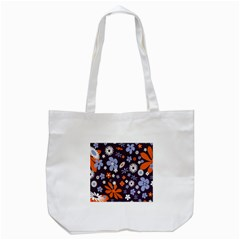 Bright Colorful Busy Large Retro Floral Flowers Pattern Wallpaper Background Tote Bag (white)