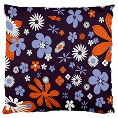 Bright Colorful Busy Large Retro Floral Flowers Pattern Wallpaper Background Large Flano Cushion Case (two Sides)