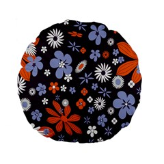 Bright Colorful Busy Large Retro Floral Flowers Pattern Wallpaper Background Standard 15  Premium Flano Round Cushions