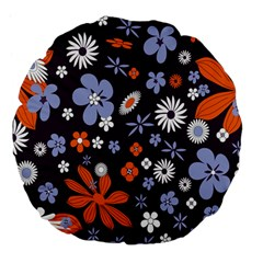 Bright Colorful Busy Large Retro Floral Flowers Pattern Wallpaper Background Large 18  Premium Flano Round Cushions