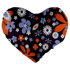 Bright Colorful Busy Large Retro Floral Flowers Pattern Wallpaper Background Large 19  Premium Flano Heart Shape Cushions