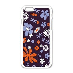 Bright Colorful Busy Large Retro Floral Flowers Pattern Wallpaper Background Apple iPhone 6/6S White Enamel Case