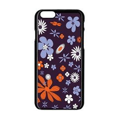Bright Colorful Busy Large Retro Floral Flowers Pattern Wallpaper Background Apple iPhone 6/6S Black Enamel Case