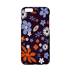 Bright Colorful Busy Large Retro Floral Flowers Pattern Wallpaper Background Apple Iphone 6/6s Hardshell Case