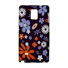 Bright Colorful Busy Large Retro Floral Flowers Pattern Wallpaper Background Samsung Galaxy Note 4 Hardshell Case