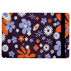 Bright Colorful Busy Large Retro Floral Flowers Pattern Wallpaper Background Ipad Air 2 Flip