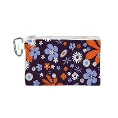 Bright Colorful Busy Large Retro Floral Flowers Pattern Wallpaper Background Canvas Cosmetic Bag (s)