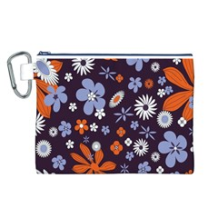 Bright Colorful Busy Large Retro Floral Flowers Pattern Wallpaper Background Canvas Cosmetic Bag (l)