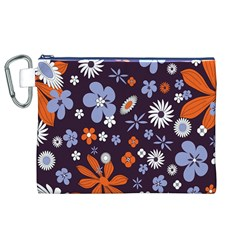 Bright Colorful Busy Large Retro Floral Flowers Pattern Wallpaper Background Canvas Cosmetic Bag (xl)