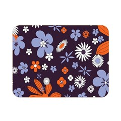 Bright Colorful Busy Large Retro Floral Flowers Pattern Wallpaper Background Double Sided Flano Blanket (mini)