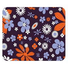 Bright Colorful Busy Large Retro Floral Flowers Pattern Wallpaper Background Double Sided Flano Blanket (small)