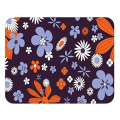 Bright Colorful Busy Large Retro Floral Flowers Pattern Wallpaper Background Double Sided Flano Blanket (large)