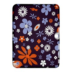 Bright Colorful Busy Large Retro Floral Flowers Pattern Wallpaper Background Samsung Galaxy Tab 4 (10 1 ) Hardshell Case