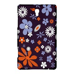 Bright Colorful Busy Large Retro Floral Flowers Pattern Wallpaper Background Samsung Galaxy Tab S (8.4 ) Hardshell Case