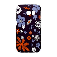 Bright Colorful Busy Large Retro Floral Flowers Pattern Wallpaper Background Galaxy S6 Edge