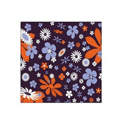 Bright Colorful Busy Large Retro Floral Flowers Pattern Wallpaper Background Satin Bandana Scarf