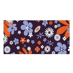 Bright Colorful Busy Large Retro Floral Flowers Pattern Wallpaper Background Satin Shawl
