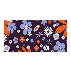Bright Colorful Busy Large Retro Floral Flowers Pattern Wallpaper Background Satin Wrap