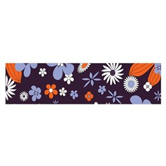 Bright Colorful Busy Large Retro Floral Flowers Pattern Wallpaper Background Satin Scarf (oblong)