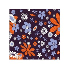 Bright Colorful Busy Large Retro Floral Flowers Pattern Wallpaper Background Small Satin Scarf (square)