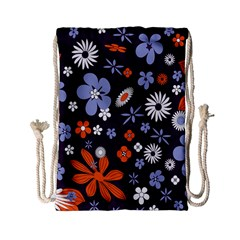 Bright Colorful Busy Large Retro Floral Flowers Pattern Wallpaper Background Drawstring Bag (Small)