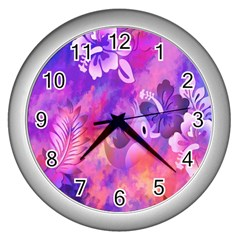 Littie Birdie Abstract Design Artwork Wall Clocks (silver)