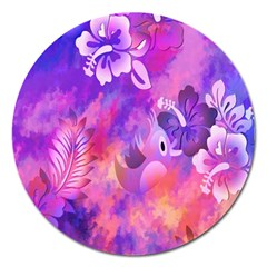 Littie Birdie Abstract Design Artwork Magnet 5  (Round)