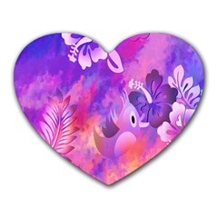Littie Birdie Abstract Design Artwork Heart Mousepads