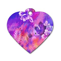 Littie Birdie Abstract Design Artwork Dog Tag Heart (Two Sides)