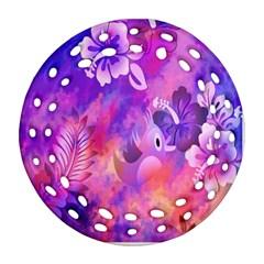 Littie Birdie Abstract Design Artwork Ornament (Round Filigree)