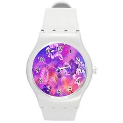 Littie Birdie Abstract Design Artwork Round Plastic Sport Watch (m)