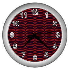 Repeated Tapestry Pattern Abstract Repetition Wall Clocks (silver)